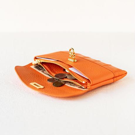 やわらかなレザーフラップ長財布クロココンビ・オコシ金具タイプ トリヨンクレマンス/オレンジ×クロコダイル/オレンジ
