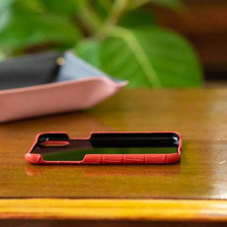 iPhone X バックカバー クロコダイル/レッド(マット)