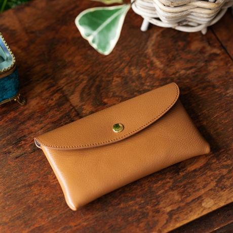 やわらかなレザーフラップ長財布 シェーブル/ゴールド(ブラウン)
