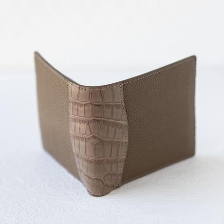 二つ折り財布小銭入れ付きクロココンビ トリヨンクレマンス/エトゥープ×クロコダイル/エトゥープ×ヴォー・エプソン/エトゥープ