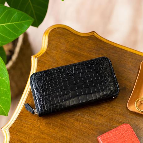 ラウンドファスナー長財布カード12枚タイプ クロコダイル/マットブラック