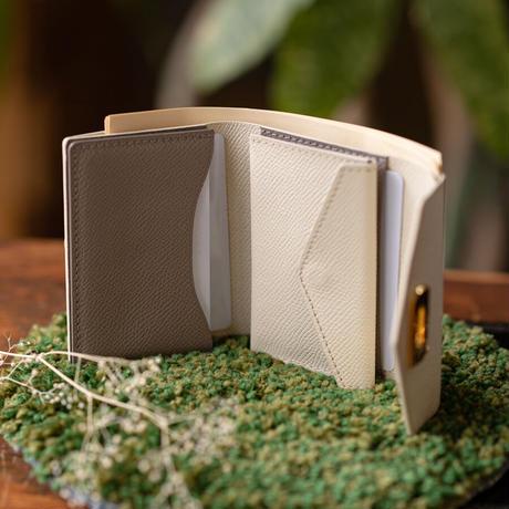 オコシ金具のコンパクト2つ折り財布  ヴォー・エプソン/クリーム×  グリアスファルト
