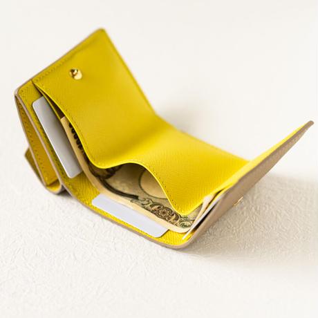 三つ折りコンパクトウォレット オコシ金具タイプ トリヨンクレマンス/トゥルティエールグレー×ヴォー・エプソン/ライム