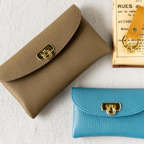 【即納】やわらかなレザーフラップミドル財布 トリヨンクレマンス/ブルージーン