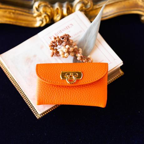 やわらかなレザーフラップ mini財布/ オレンジ