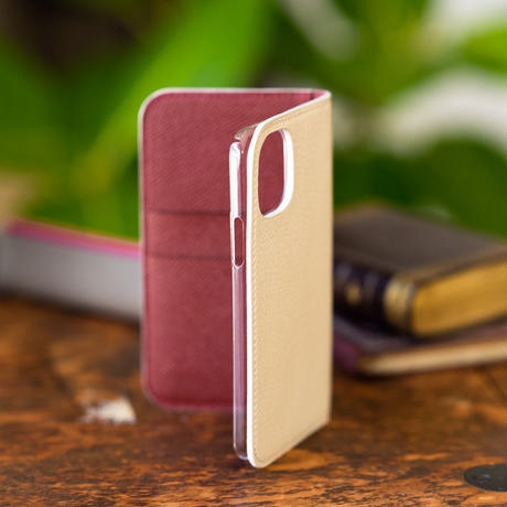 iPhone 11 (Pro) 手帳型スマホケース アイボリーxルージュアッシュ