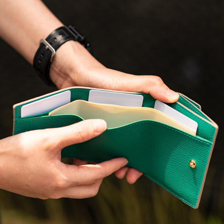 三つ折りコンパクトウォレット オコシ金具タイプ トリヨンクレマンス/トゥルティエールグレー×ヴォー・エプソン/ローズアザレ