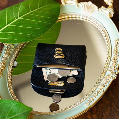 【即納】やわらかなレザーフラップ mini財布 トリヨンクレマンス/ブラック