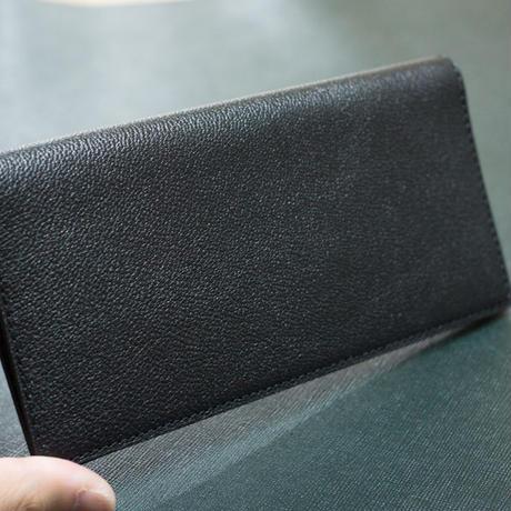 スマートなレザー薄型長札入れ シェーブル/ブラック