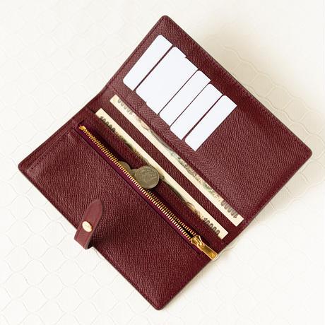 薄型長財布ベルトつき ヴォー・エプソン/エタン×ルージュアッシュ