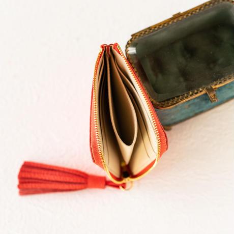 L字ファスナーミニ財布 タッセル付  トリヨンクレマンス/ローズジャイプール×ヴォー・エプソン/クリーム