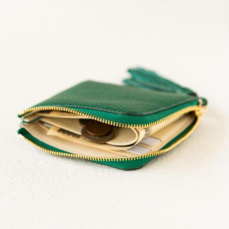 L字ファスナーミニ財布 タッセル付  トリヨンクレマンス/エメラルド×ヴォー・エプソン/クリーム