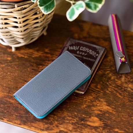 iPhone 11 Pro Max 手帳型スマホケース グレーxブルーノール
