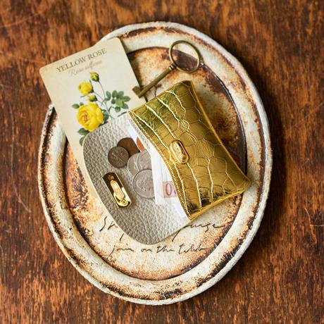 やわらかなレザーフラップmini財布  クロコダイル/キラキラゴールド