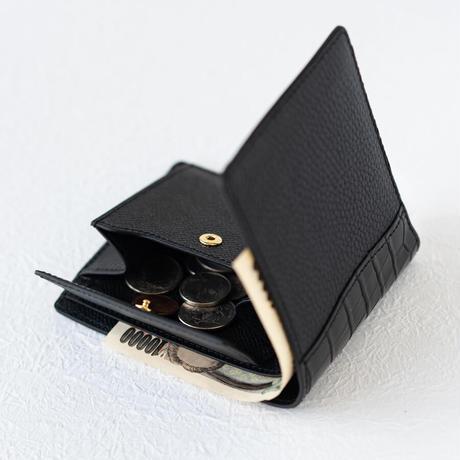 二つ折り財布小銭入れ付きクロココンビ トリヨンクレマンス/ブラック×クロコダイル/ブラック×ヴォー・エプソン/ブラック