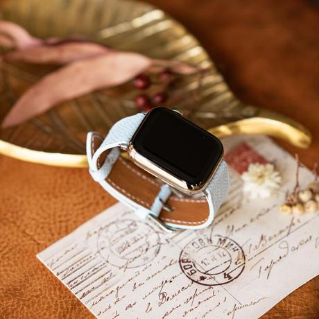 Apple Watch レザーベルト(44MM/40MM) ヴォー・エプソン/ブルーブリュームxヴォー・バレニア/ゴールド