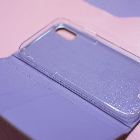 【iPhoneシリーズ対応】手帳型レザーiPhoneケース トゥルティエールグレーxラベンダー