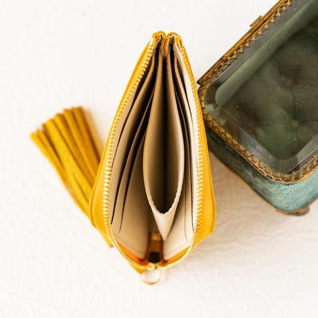 L字ファスナーミニ財布 タッセル付  トリヨンクレマンス/ジョーヌアンブル×ヴォー・エプソン/クリーム