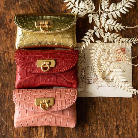やわらかなレザーフラップmini財布  クロコダイル/ピンクベージュ
