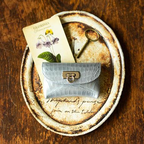 やわらかなレザーフラップmini財布  クロコダイル/キラキラシルバー