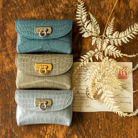 やわらかなレザーフラップmini財布  クロコダイル/ライトグレー
