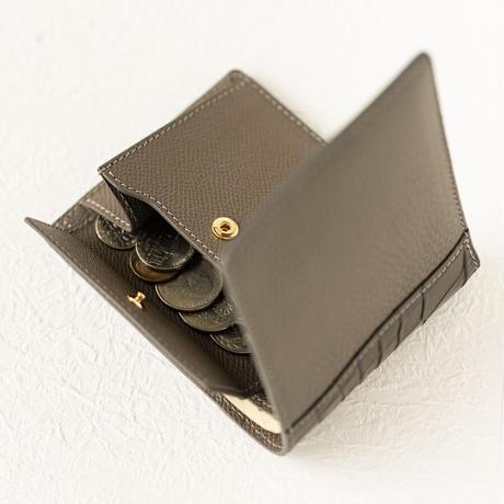 二つ折り財布小銭入れ付きクロココンビ トリヨンクレマンス/エタン×クロコダイル/グレー×ヴォー・エプソン/エタン