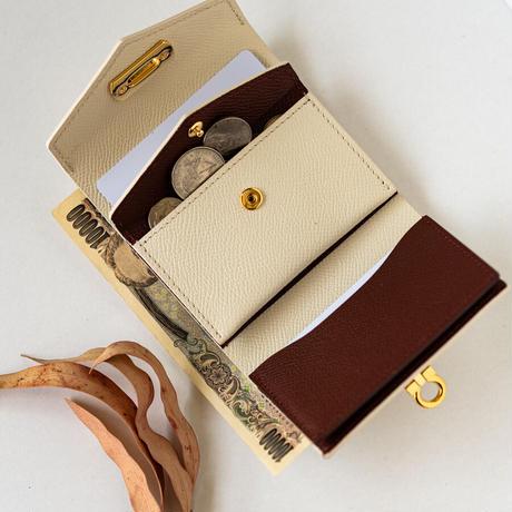 オコシ金具のコンパクト2つ折り財布  ヴォー・エプソン/クリーム× ルージュアッシュ