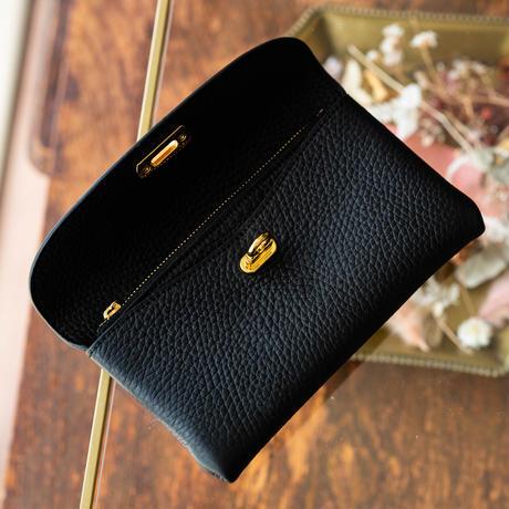 【即納】やわらかなレザーフラップ長財布・オコシ金具タイプ トリヨンクレマンス/ブラック
