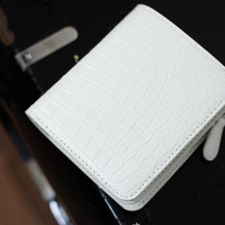 【オーダー例】2つ折りミドルウォレットS クロコダイル/ピュアホワイト
