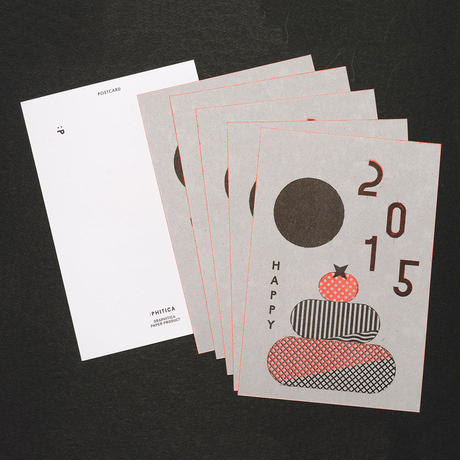 NEW YEAR CARD 2015 : HAPPY 鏡餅 5枚セット