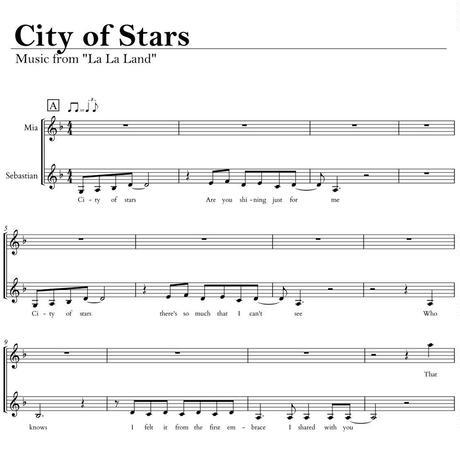 """City of Stars"" 楽譜 【ララランド La La Land】 歌詞付き デュエットボーカル譜"