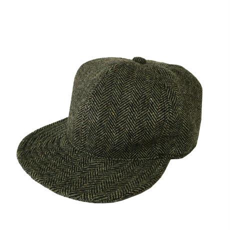 SNAP BACK CAP HERRINGBONE WOOL SMOKE GREEN