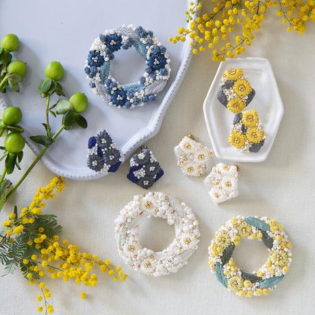 K.omono kakera earrings white PHC-085-1