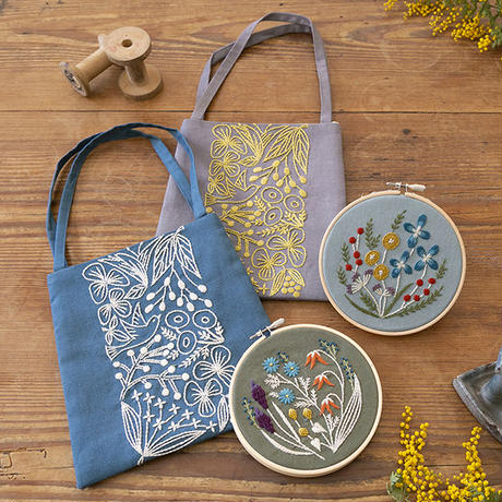 Alice Makabe 野の花の刺繍フレーム Kahki