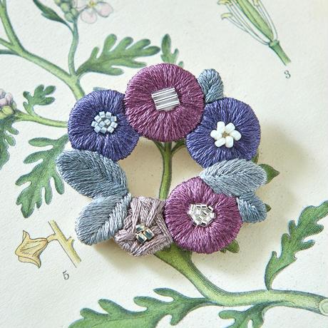 k.omono floret wreath brooch  ブローチ  - mauve -  PHC-034-4