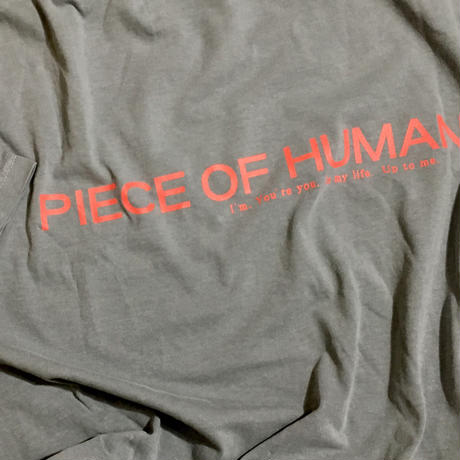 """piece of human"" LOGO wash ""T"" [GR/Or]"