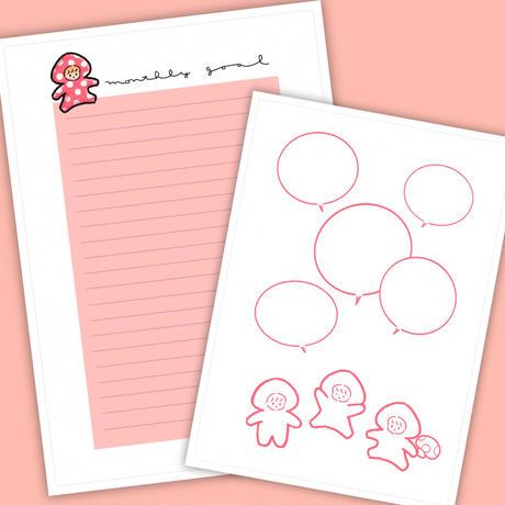 9月マンスリーセット&シールシート【A5手帳リフィル】厚紙タイプ