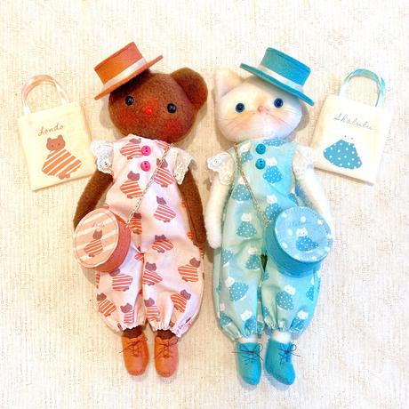 22㎝サイズdress-up dollセット-ネコのシャルル/クマのロンド●オーダー商品/お届け6月中旬〜下旬