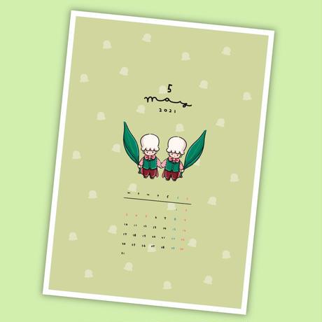 5月マンスリーセット&シールシート【A5手帳リフィル】厚紙タイプ