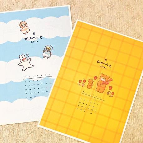 3月マンスリー&シールシート【A5手帳リフィル】厚紙タイプ