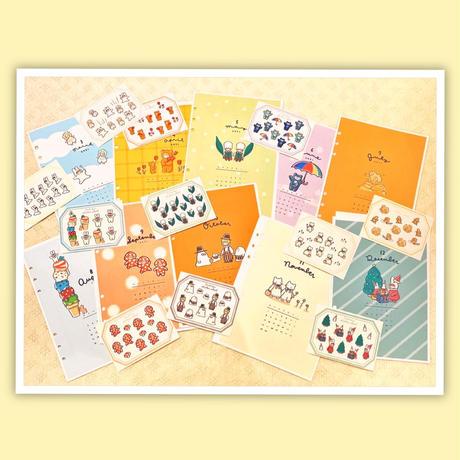 11月マンスリーセット&シールシート【A5手帳リフィル】厚紙タイプ