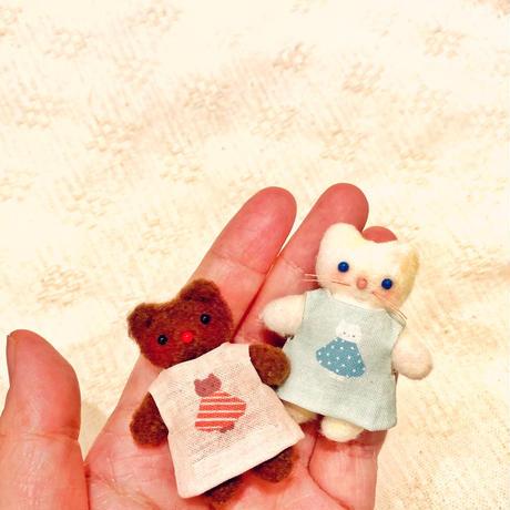 洋服と小物のみのおめかしセット(ふわふわぬいぐるみSS用)ネコのシャルル/クマのロンド●オーダー商品/お届け6月中旬〜下旬