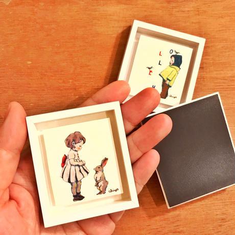 ミニ額絵マグネット(クマのロンド/ネコのシャルル)●オーダー商品/お届け6月中旬〜下旬
