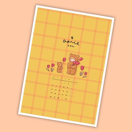 4月マンスリー&シールシート【A5手帳リフィル】厚紙タイプ