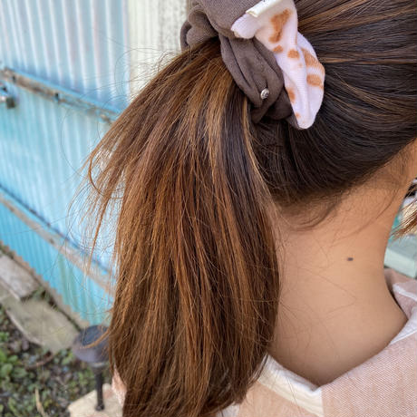 ecoRAL tie-dyeシュシュw crystal siver