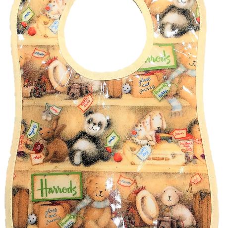 [Harrods] ハロッズ スタイ / PVC加工 よだれかけ 食事用エプロン キッズ 幼児用 Baby BIB (幼児用, 棚のテディベア)