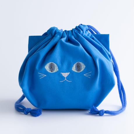 給食袋にもオフィスにも◎ねこの巾着袋(ブルー)【送料無料】【受注製作】