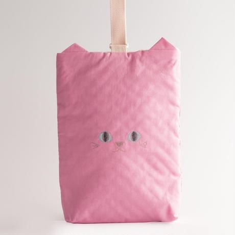 入園入学に◎ねこの上履き入れ(ピンク)【送料無料】【受注製作】