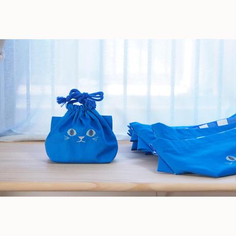 コップ袋にも◎ねこの巾着袋ミニ(ブルー)【送料無料】【受注製作】
