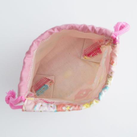 コップ袋にも◎ねこの巾着袋ミニ(ピンク)【送料無料】【受注製作】